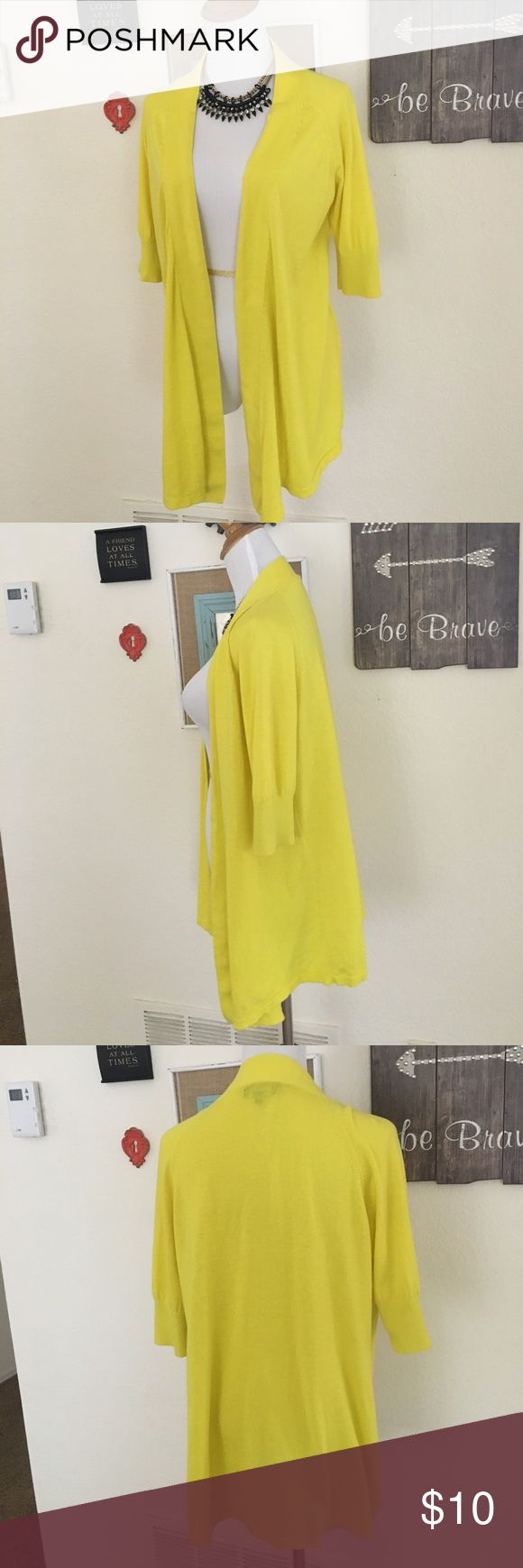 Express neon yellow cardigan 3/4 sleeve neon yellow open front cardigan. 100% cotton. Looks great with black or white outfits. Perfect addition when needing that extra pop of color. Lightweight material for year round wear. Express Sweaters Cardigans