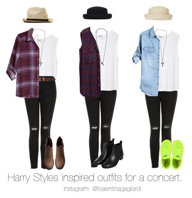 """(Requested) - Harry Styles inspired outfits for a One Direction concert in june."" by francesca-valentina-gagliardi ❤ liked on Polyvore featuring T By Alexander Wang, Topshop, American Eagle Outfitters, Marc Jacobs, Alex and Chloe, Heather Gardner, H&M and NIKE"