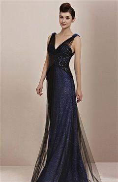 Perfect for Military Ball. Glitter Tulle Cross Sequin Waist  Deep V-Neck Evening…