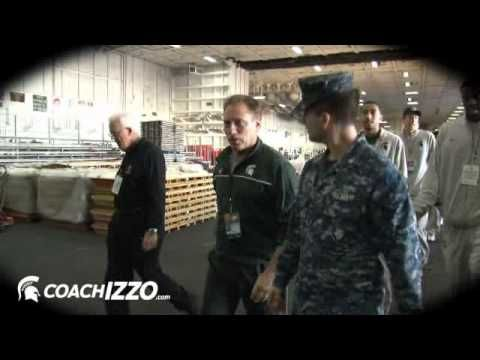 The MSU Spartan basketball team tours USS Carl Vinson before playing North Carolina for the Quicken Loans Carrier Classic on Nov. 11, 2011 #spartans