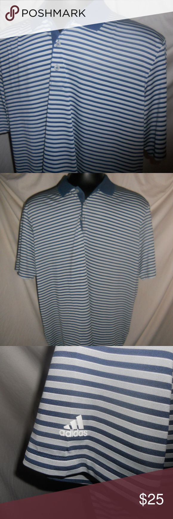Adidas Mens Blue Striped Golf Polo Shirt Mens XXL Adidas Mens Blue Striped Golf Polo Collar Shirt Button Sports Men's XXL. Shirt is in excellent condition and ready for a new home. adidas Shirts Polos