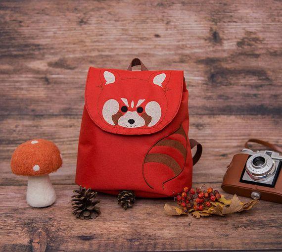 Red Panda Backpack, Embroidered waterproof backpack, Toddler Backpack, Backpack for kids,Animal Backpack, Childern's Bag, Forest Animal Bag,