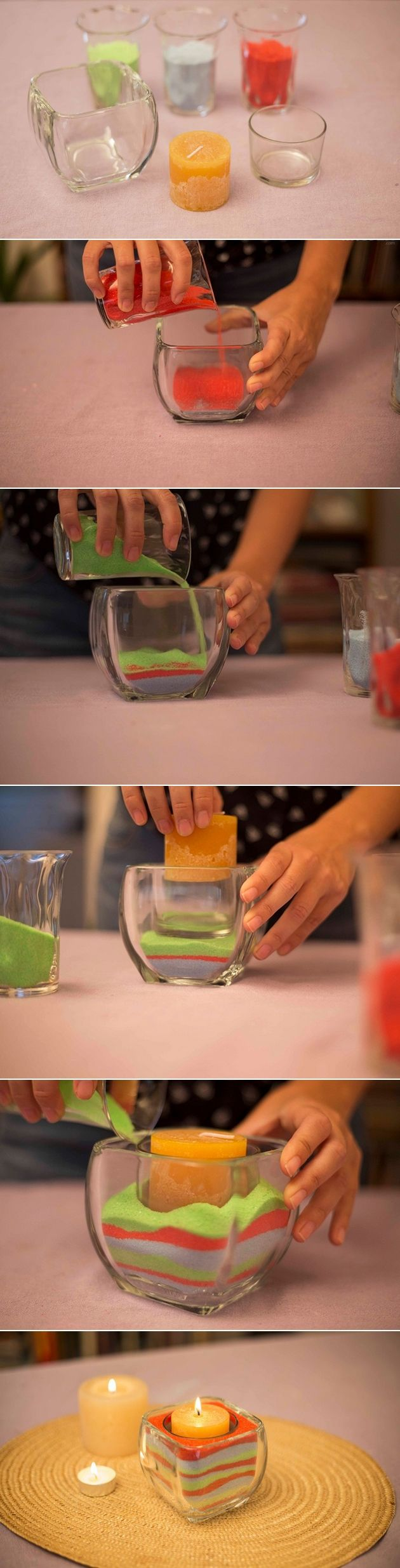 decorating glass candle holders with colored sand