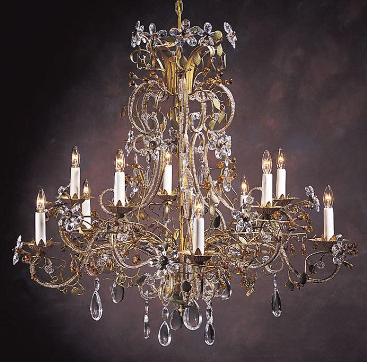 Gilded Bohemian Crystal Chandelier With Beaded Arms French Style And Clear Amber On An