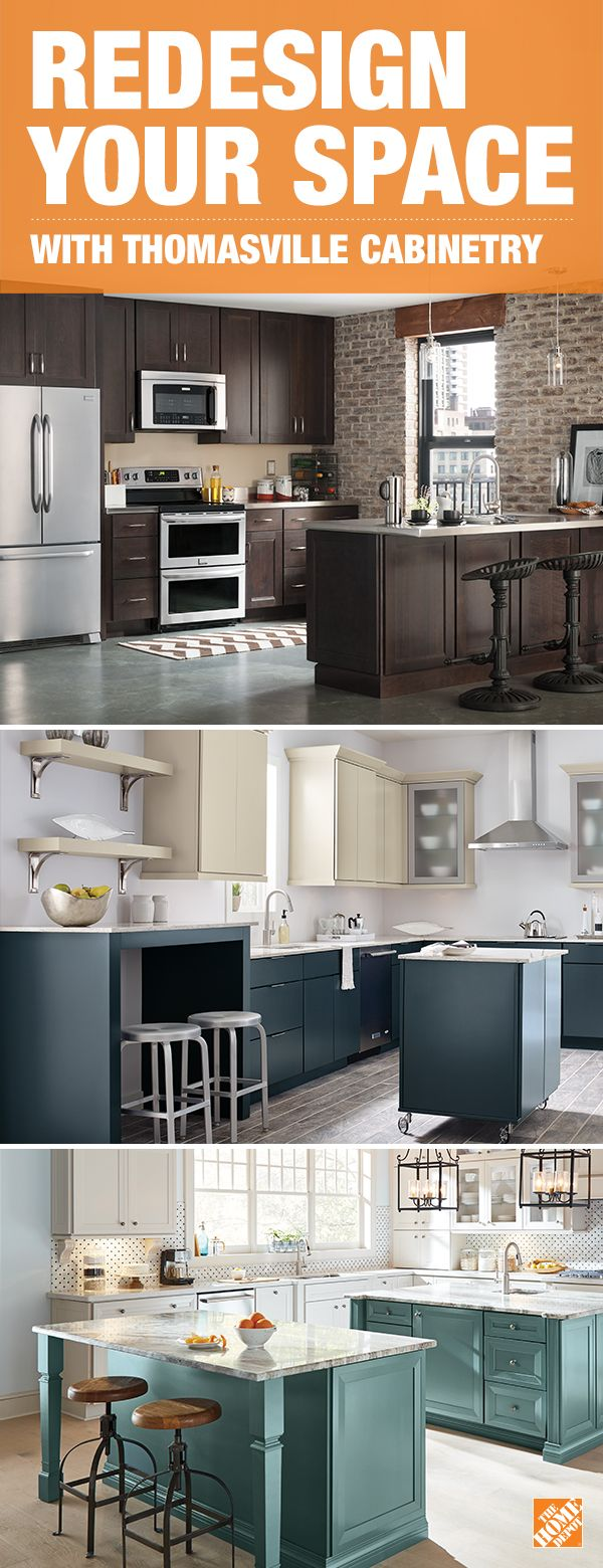 Combine style and function with Thomasville cabinets for your next kitchen renovation. Choose from a variety of chic and on-trend cabinet and door styles with hidden storage options to reduce clutter and create more space. Click to learn more about this look and explore custom options at The Home Depot.