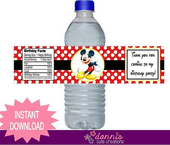 Very best 66 best Birthday Water Bottle Labels images on Pinterest | Water  UB71
