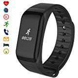 Fitness and Wellness Activity Tracker, Latec Smart Sport Armband Pedometer Calories Sleep Activity Tracker with Heart Rate Monitor Blood Pressure Monitor Stop Watch Waterproof IP67 Practice Tracker Smart Watch Bracelet Caller ID Push Notification For Android and iOS smart phones (Black)