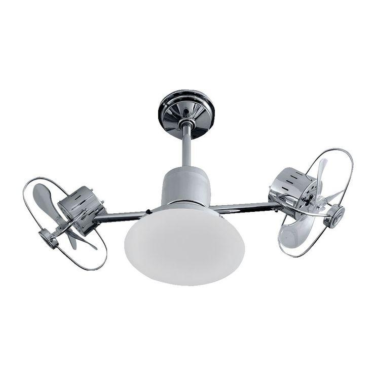 Ventilador de teto bivolt infinit Plus cromado com lâmpada led e controle remoto exclusivo