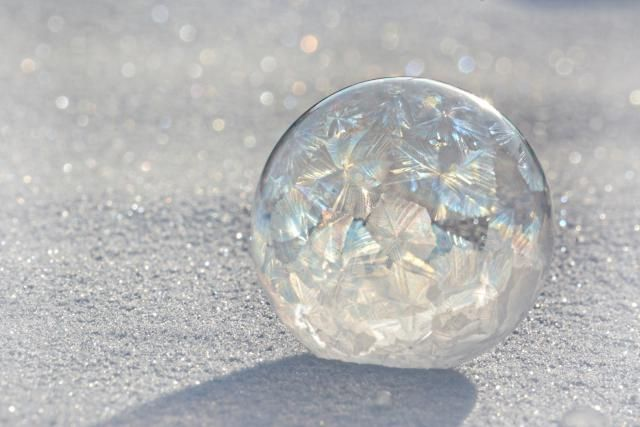 Cold Outside? Blow Frozen Bubbles!: Frost patterns form on bubbles you freeze outdoors.