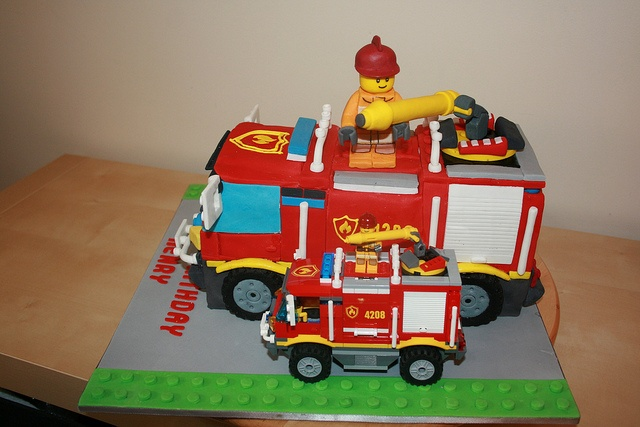 Lego Fire Engine Cake (small actual lego fire engine in front of photo for comparison) - it's amazing!