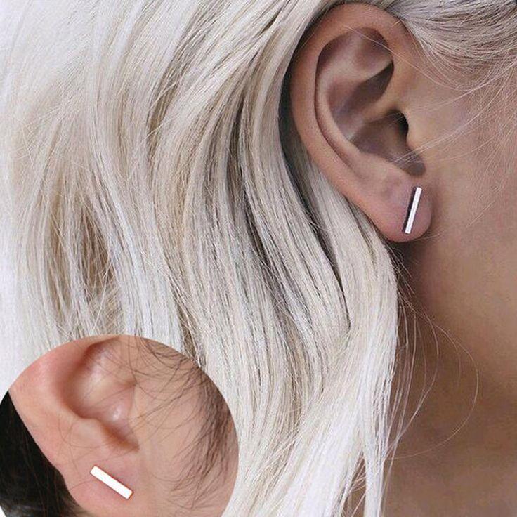 2016 mode simple or argent T-bar boucles d'oreilles hommes boucles d'oreilles bijoux bijoux géométrie boucles d'oreilles