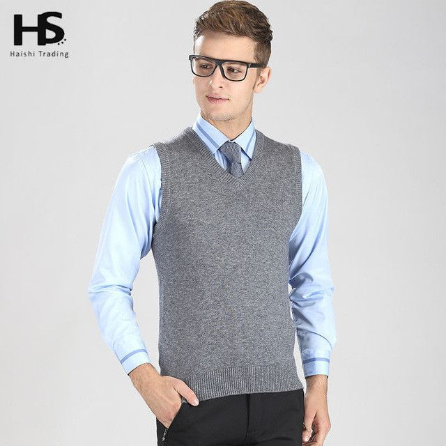 COODRONY Solid Color Classic Wool Vest Men Autumn Winter Sleeveless Sweater Homme Casual V-Neck Pull Warm Cashmere Pullover