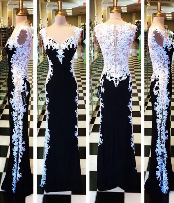 Evening Gowns Online Attractive White And Black Evening Lace Dresses Capped Sleeves Appliques Sweetheart Long Prom Dress Uk 2015 Evening Gowns Long Evening Dresses Cheap From Adminonline, $103.66| Dhgate.Com
