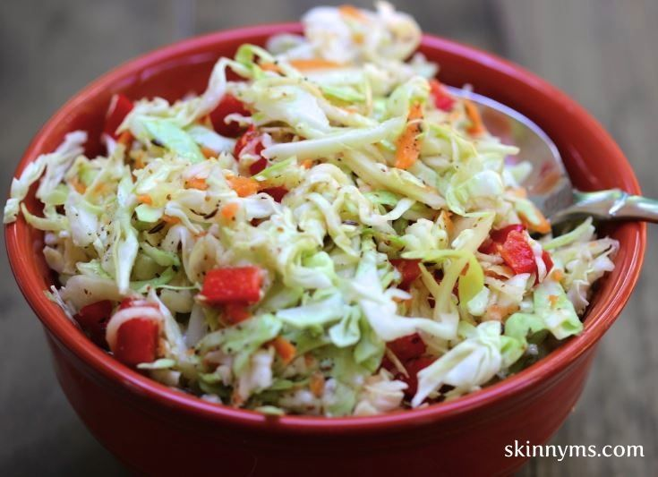 Skinny Sweet and Tangy Cole Slaw - Move away from mayonnaise cole slaw and try our recipe at only 116 calories per serving. #cleaneating #weightwatchers #fatloss