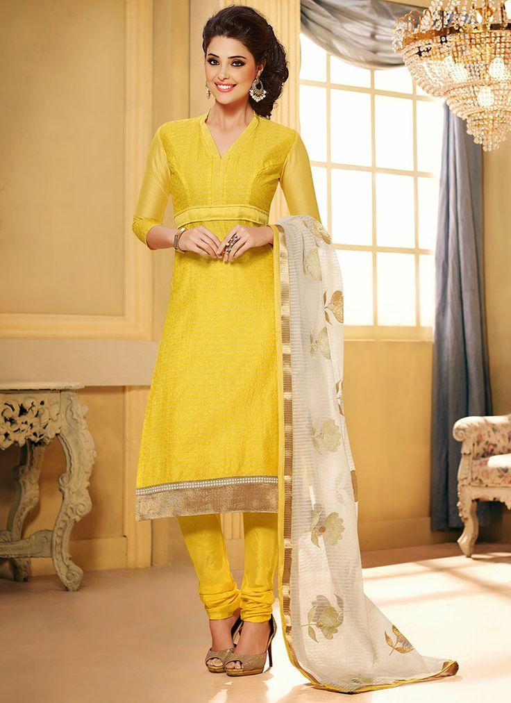 Alluring Yellow Chanderi Silk Churidar Suit