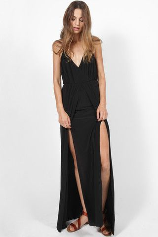 MISA NOLA BLACK SLINKY DOUBLE SPLIT LEG MAXI DRESS