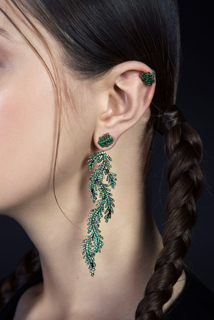 Mukhi Sisters present | Reverie on the Vine | Fine Jewellery Collection.  One sided ear-jacket | wild | enchanted forrest.