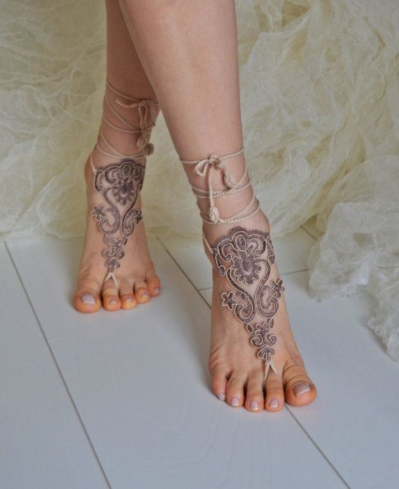 Crochet Tan Barefoot Sandals, french lace, Nude shoes, Foot jewelry,Wedding, Victorian Lace, Sexy, Yoga, Anklet , Belly Dance