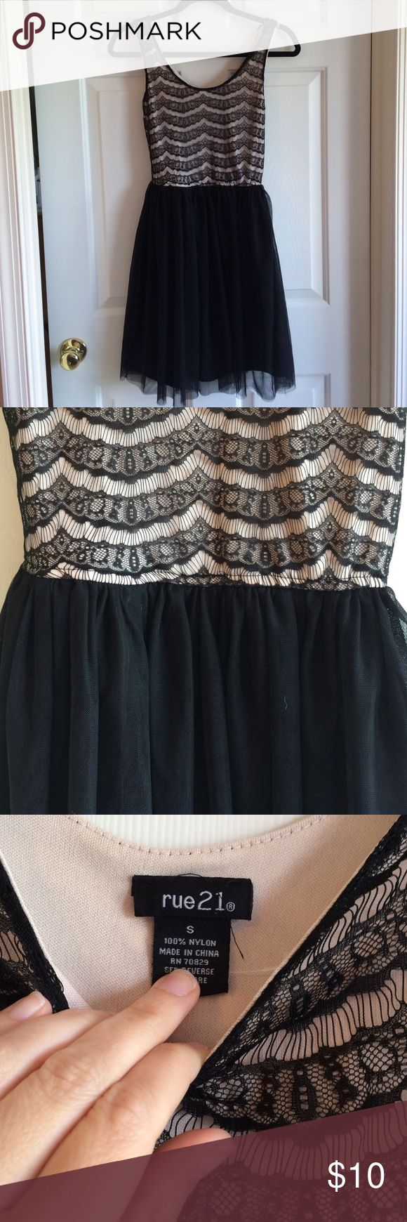 Rue 21 lace dress Very pretty lace top w solid black bottom dress. Junior size S. One snag at top strap. Middle school appropriate. My SD wore to 8th grade dance. Smoke and pet free home. Rue 21 Dresses