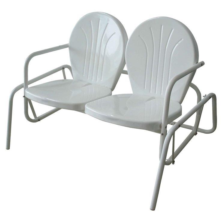 AmeriHome Double Seat Glider (Double Seat Glider), White, Size Single  (Metal) #MCDSG, Patio Furniture