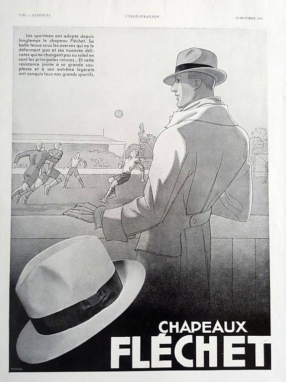 Flechet hats vintage advertising poster men fashion