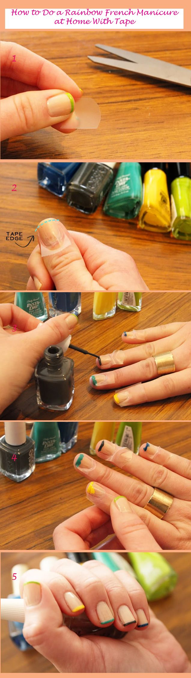 Tutorial : How to Do a Rainbow French Manicure at Home With Tape