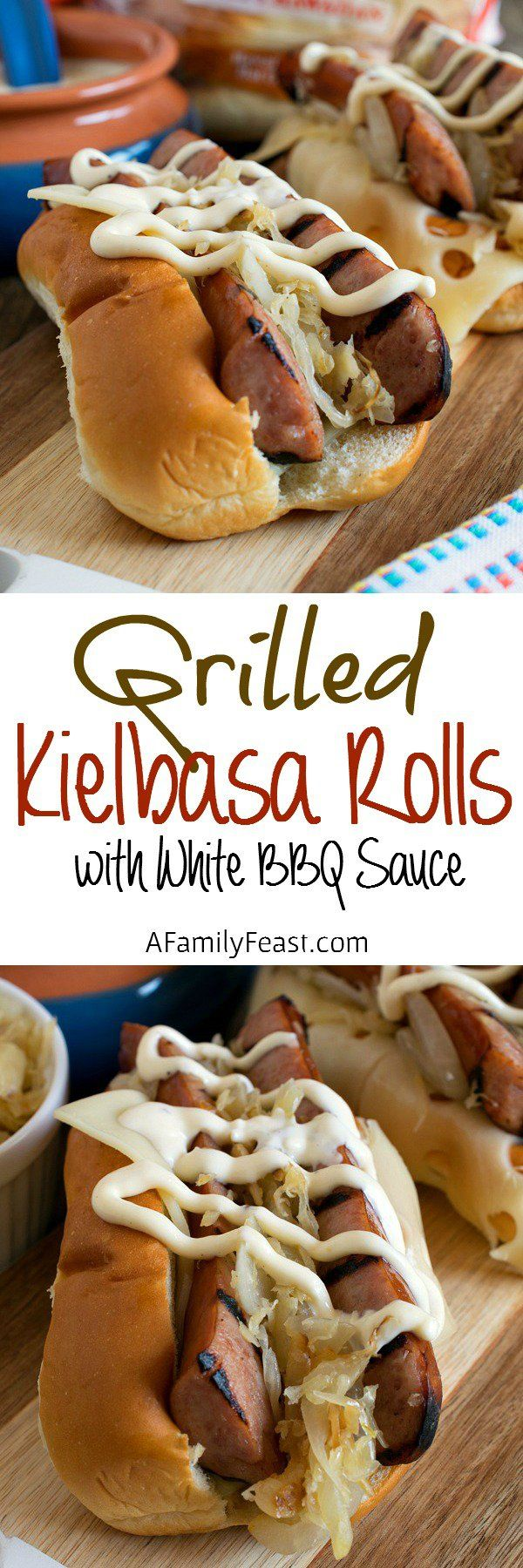 Grilled Kielbasa Rolls with White Barbecue Sauce - A Family Feast