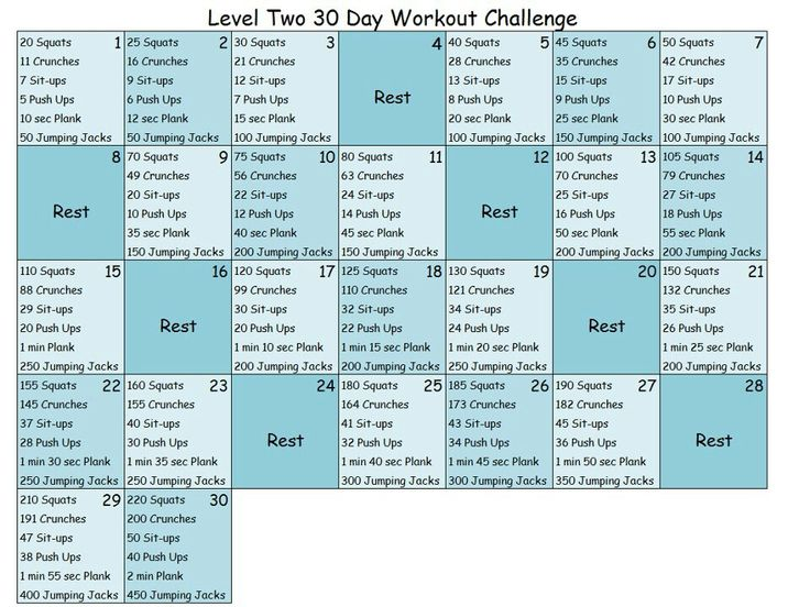 30 day workout challenge-level 2