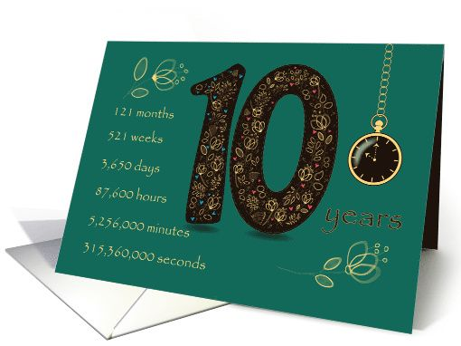 Congratulations on 10th Cancer Free Anniversary. Time counting card