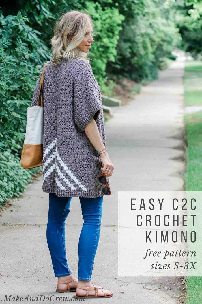 Easy C2c Crochet Kimono Sweater Made From Rectangles Crochet