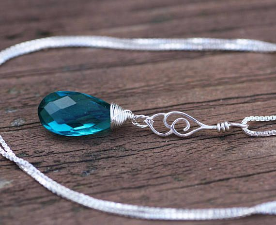 Paraiba Tourmaline Briolette Wire Wrapped Filigree Cloud Pendant in Solid Sterlng Silver , May birthstone, wedding , 8th Anniversary
