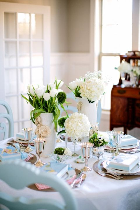 Opt for whites and neutral colors for a sophisticated Easter brunch tablescape.
