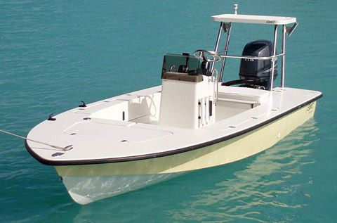 Egret 18-foot flats boat.  Specialty boat for fighting the big fish in the skinny water of places like the Everglades and the Bahamas.  With two guys on it the boat draft is about 8 inches.