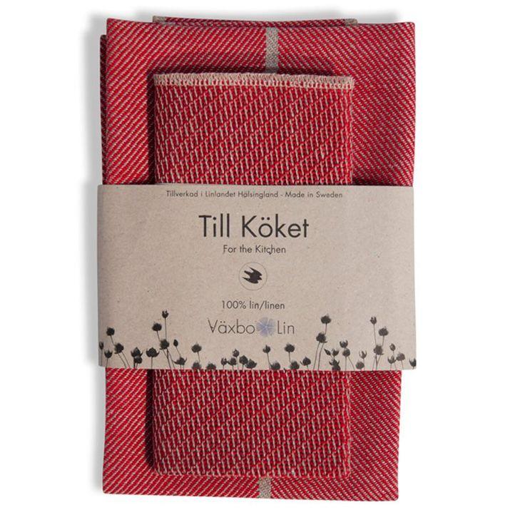 Kopphåndduk og klut rød