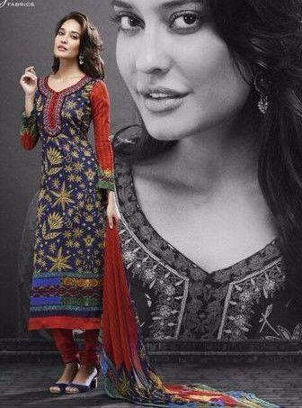 Mayur 544 - Blue Color Pakistani Style Cotton Designer Suit