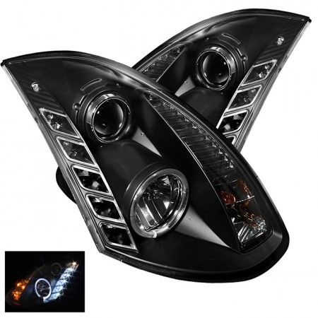 Spyder Auto 444-IG35032D-DRL-BK   2004 Infiniti G35 Black DRL LED Projector Headlights for Coupe/Sedan