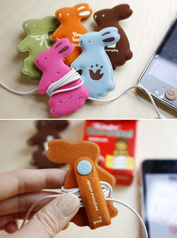 MochiThings.com: Rabbit Earphone Organizer $9.95