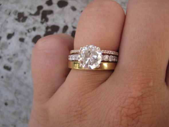 Perfect Heirloom wedding band mismatched with a diamond wedding band with a solitaire engagement ring Absolutely beautiful with the gold and silver mix