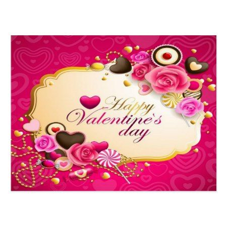 happy valentines day postcard - tap to personalize and get yours