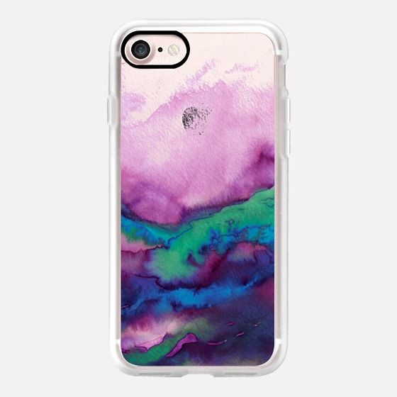 WINTER WAVES 2 Watercolor Purple Green Turquoise Blue Ocean Abstract Painting Colorful Ombre Transparent Sea Coastal Lime Aqua Indigo Marble Chic Modern Elegant Fine Art Design - Classic Grip Case
