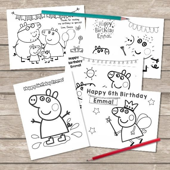 Peppa Pig Party Favor Personalized coloring pages activity  > Customizable > Print at home, online or at a print shop. > Perfect to keep children of all ages entertained. > Perfect for Birthday party favors, or other events.  Includes a total of 6 coloring sheets ( 8.5 x 11), games and activities! We will personalize it and email the PDF file to you.  PLEASE INCLUDE*: - Childs first name - Age *Write all custom text in the Note to seller when checking out.  Instructions: * Print a...