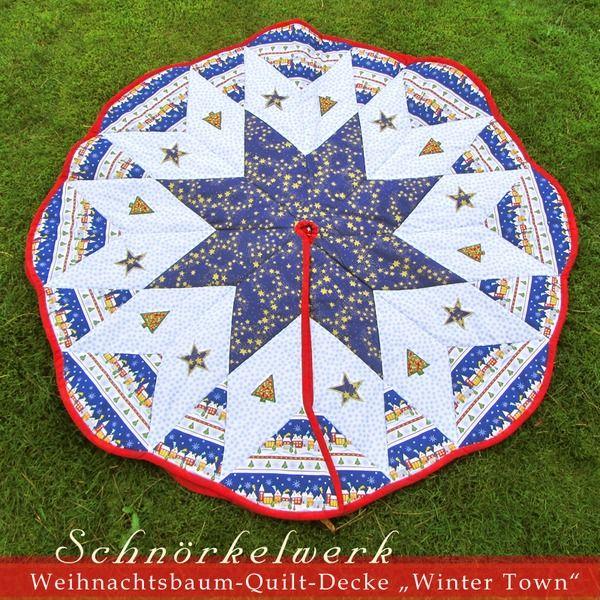 """Quilt-Decke, Weihnachtsbaum-Decke """"Winter Town"""" von Lealani / Schnörkelwerk auf DaWanda.com"""