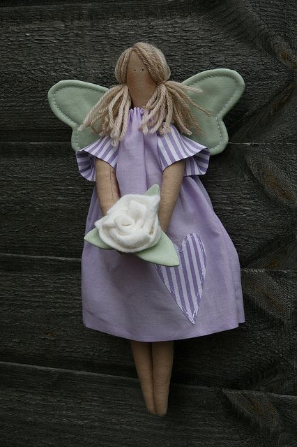 lavender and green tilda doll by countrykitty