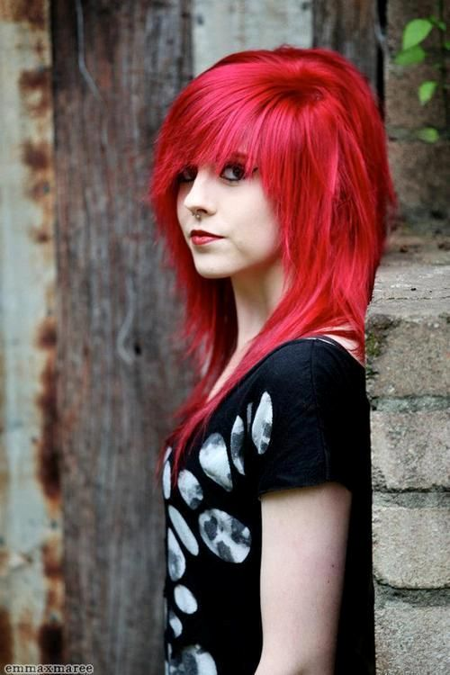 Think, Black emo girl with red hair new day