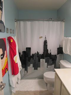 superhero+bathroom | Half Finished House: Big kid super hero bathroom, 80% finished...