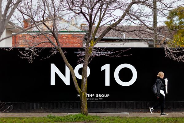 Logo and outdoor advertising for Australian property developer Martino Group designed by Hi Ho