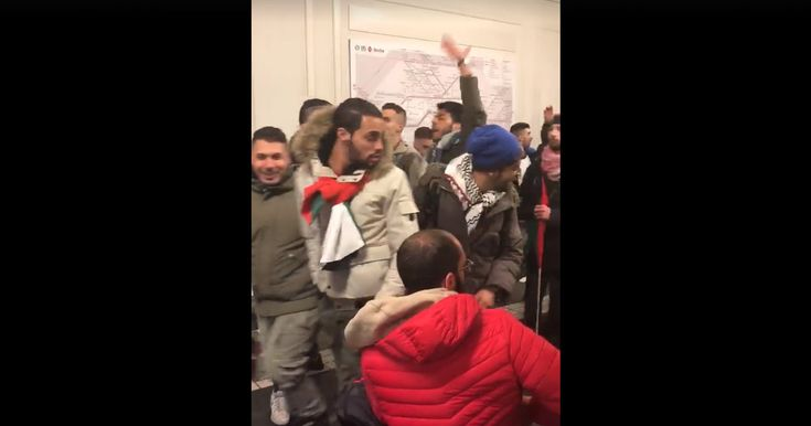"""This is a video taken in a metro station in Berlin. Screams of """"Allah Hu Akbar"""" and """"F*** You Trump"""" and the Palestine flags are visibl..."""