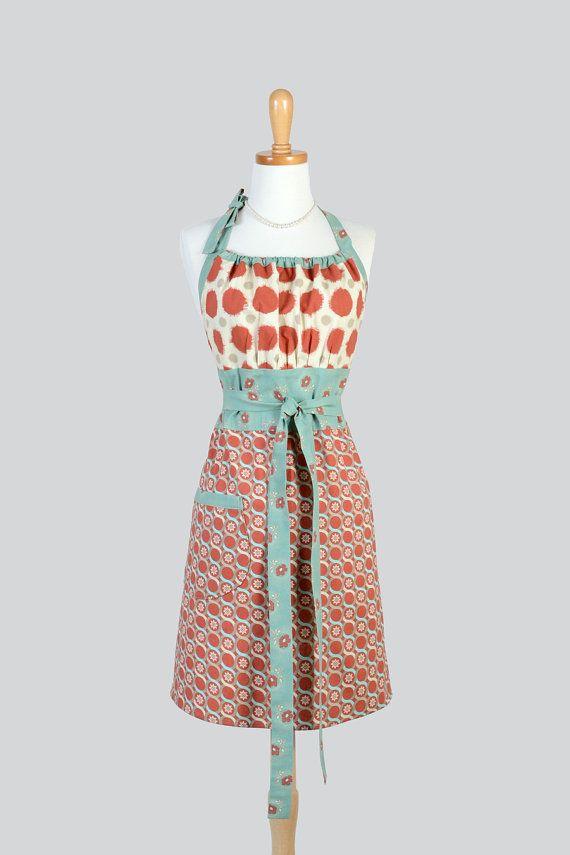 Süße Kitsch-Retro-Schürze. Volle Küchenchef Stil Womens handgemachte Schürze Vintage Rost Dots blaugrün geometrische Schürze