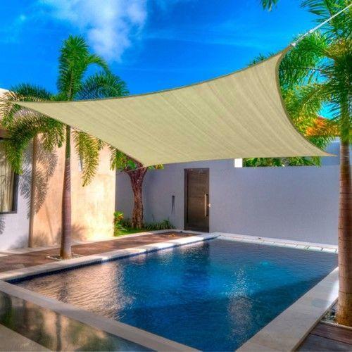 12 x 12' FT Feet Square UV Heavy Duty Sun Shade Sail Patio Cover New Sand CanopyCanopy Tan