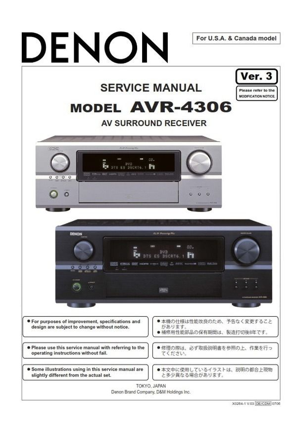 Denon AVR-4306 Receiver Service Manual and Repair Guide | Denon